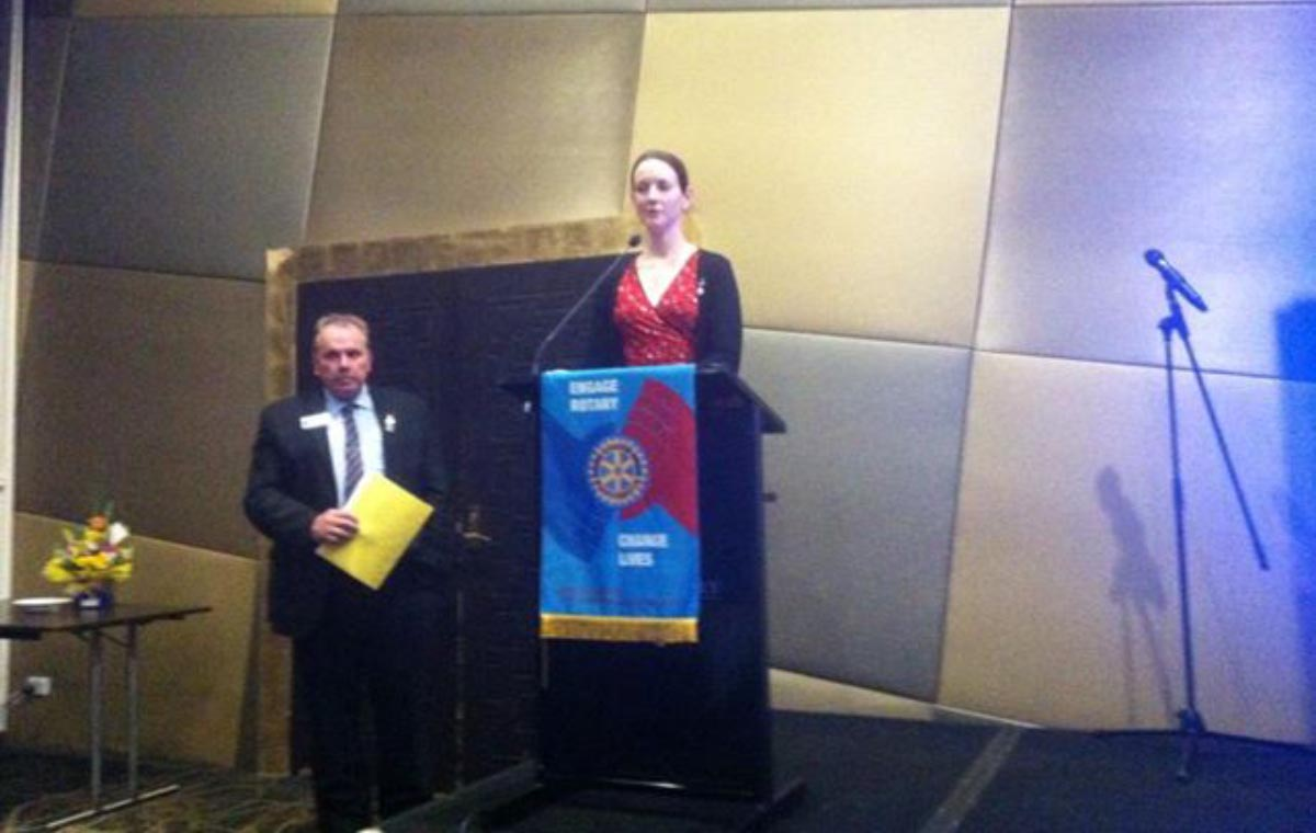 Rotary Peace Fellow, Jessica Butcher, speaks to those in attendance.